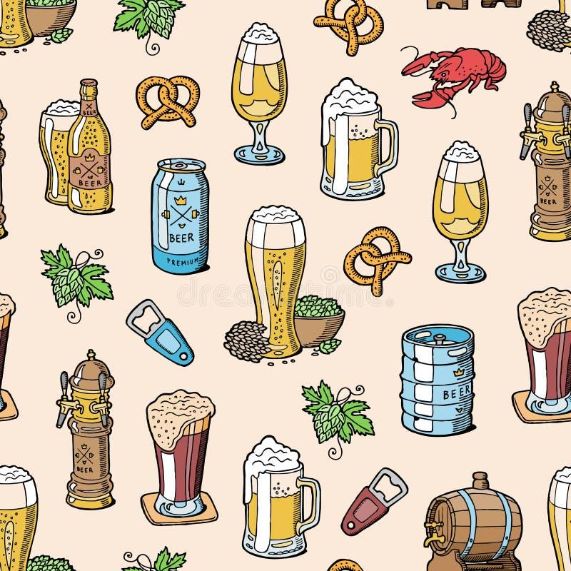 Cerveja no beermug do vetor da cervejaria do beerhouse ou o beerbottle e cerveja inglesa escura ou beerbarrel na barra no partido ilustração stock