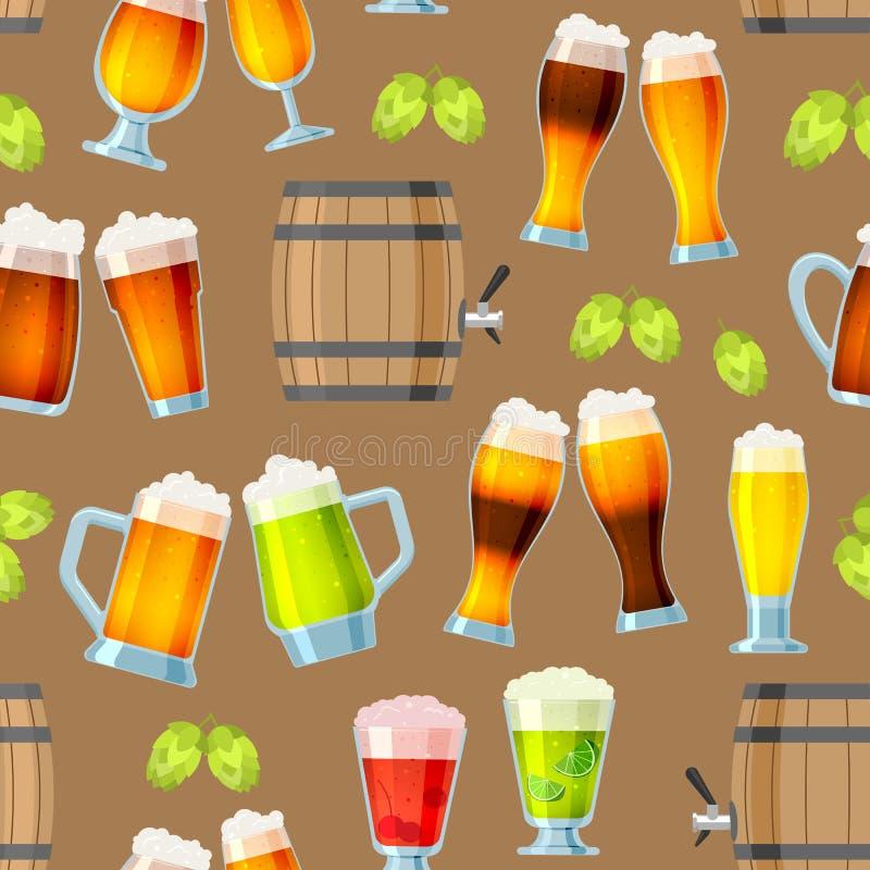Cerveja no beermug ou no beerbottle do vetor da cervejaria do beerhouse e cerveja inglesa escura na barra no partido cervejeiro c ilustração royalty free