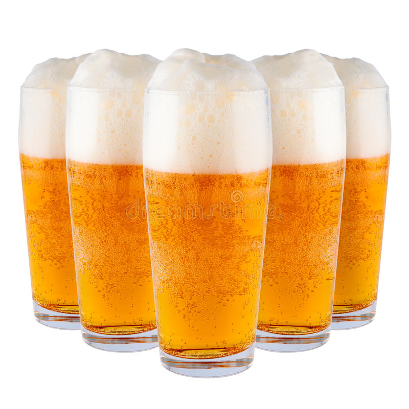 Cerveja nos vidros. foto de stock