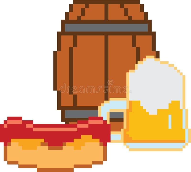 Cerveja Pixel-arte ou estilo de 8 bits ilustração stock
