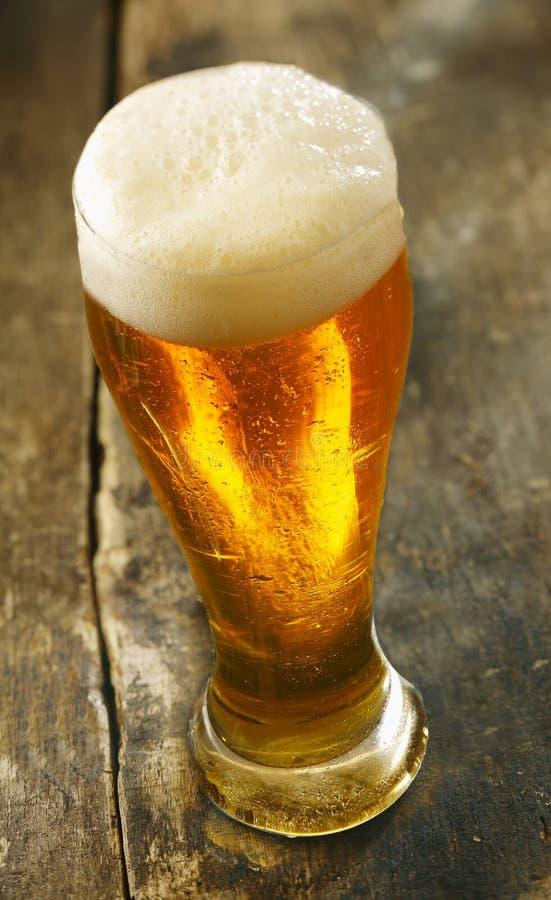 Cerveja refrigerada com uma cabeça frothy imagens de stock