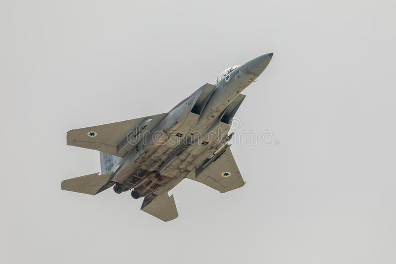 Cerveja-Sheba, Israel - 9 de maio de 2019: Opinião F15 Eagle do close up foto de stock