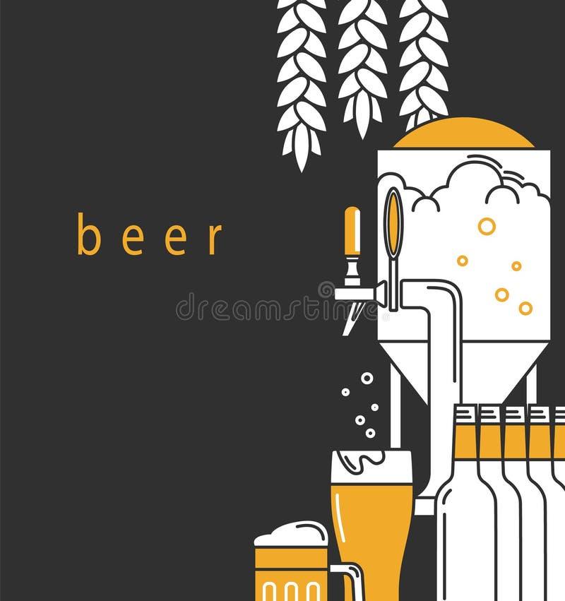 Cerveja Um molde do projeto do folheto para um bar, restaurante, barra Folheto, anunciando a brochura, etiqueta ilustração stock