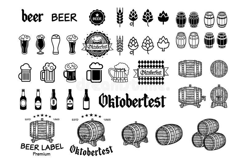 A cervejaria da cerveja do ofício do vintage simboliza, etiquetas e vetor dos elementos do projeto ilustração do vetor