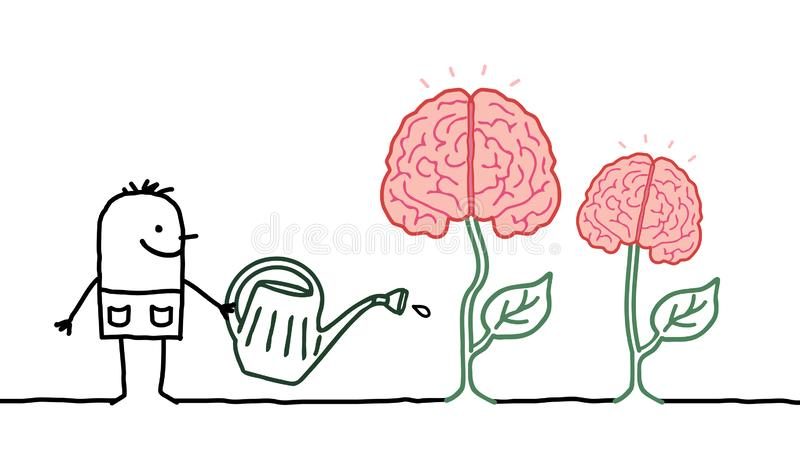 Cervelli crescenti d'innaffiatura dell'uomo del fumetto immagine stock libera da diritti