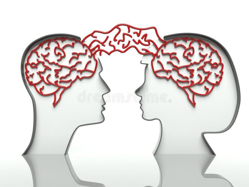 Cervelli della donna e dell'uomo, concetto della comunicazione royalty illustrazione gratis