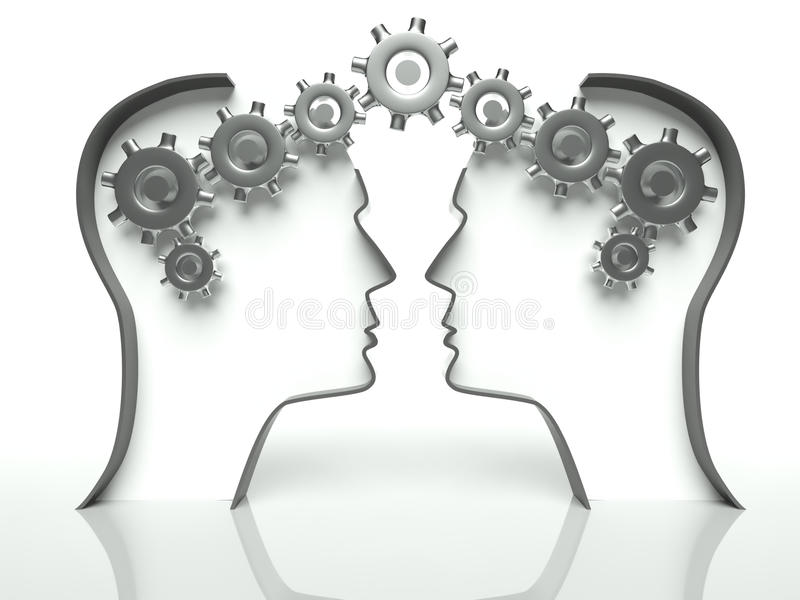Cervelli ed attrezzi in testa, concetto della comunicazione royalty illustrazione gratis