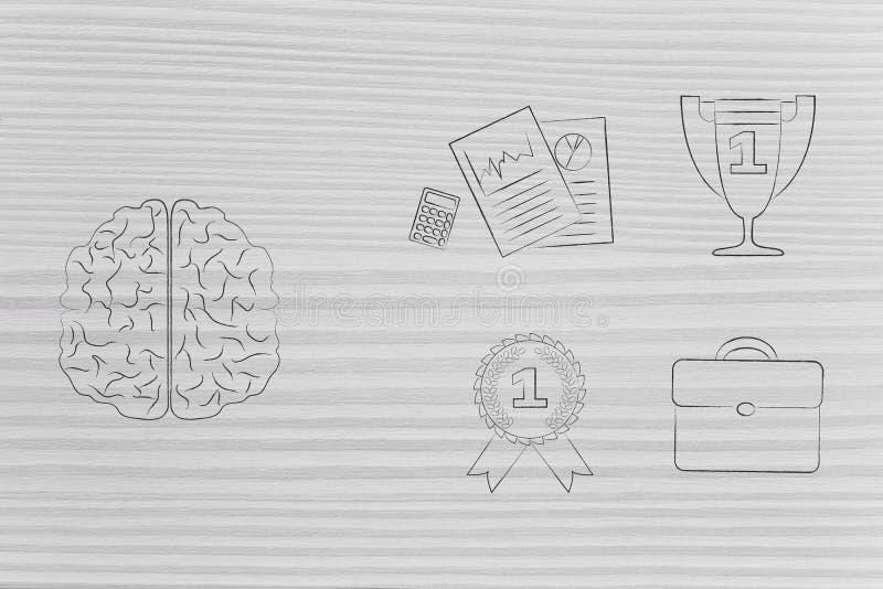 Cervello accanto al gruppo di icone relative al lavoro e di primo trofeo a del posto immagine stock libera da diritti