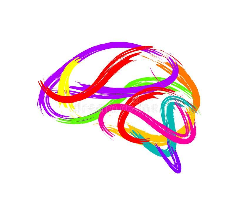 Cervello astratto fatto del colpo della pittura come simbolo creativo di idea royalty illustrazione gratis
