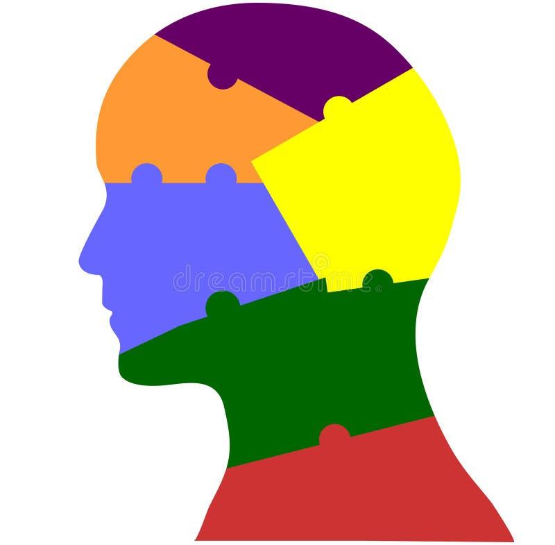 Cervello capo di puzzle di simbolo di salute mentale illustrazione di stock
