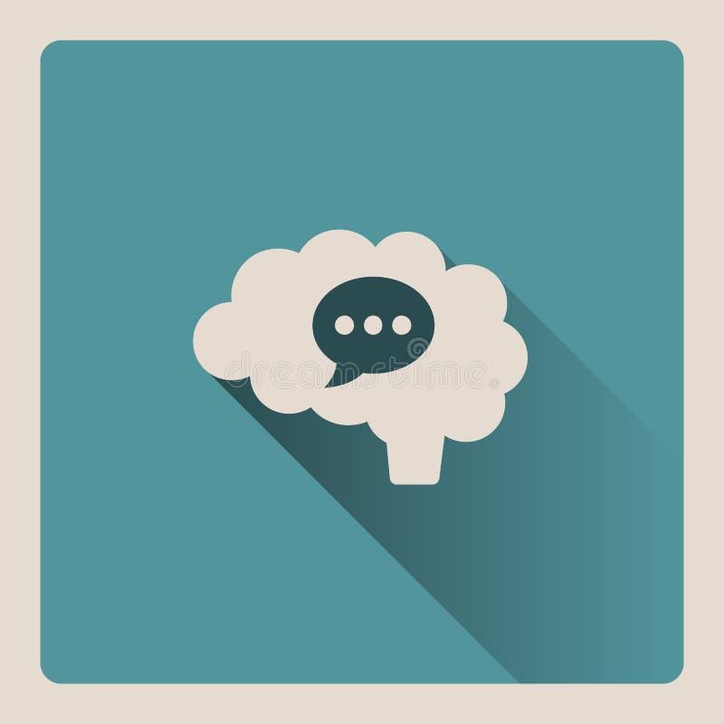 Cervello che pensa in un'illustrazione di conversazione su fondo blu con ombra illustrazione di stock