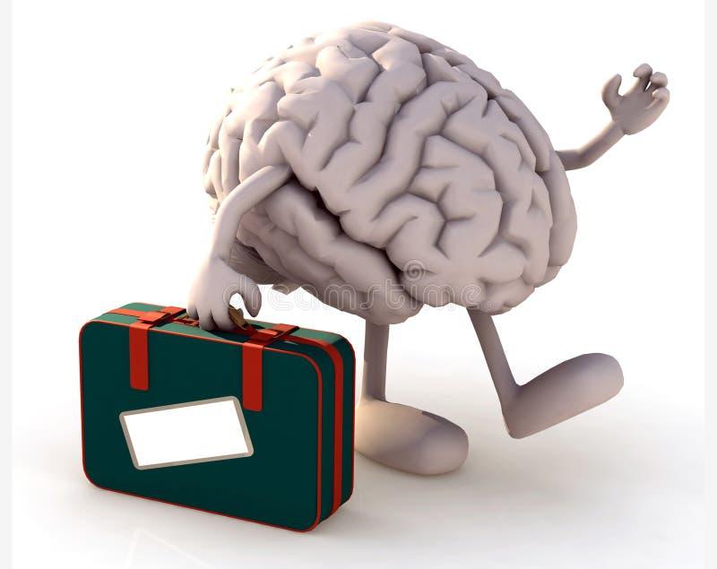 Cervello con le armi e gambe che prendono una valigia illustrazione vettoriale