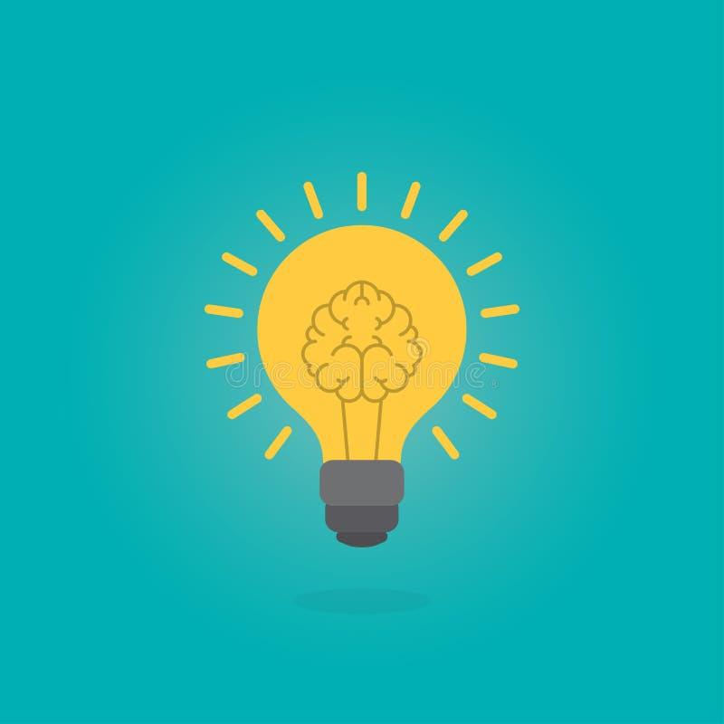 Cervello d'ardore dentro la lampadina, concetto di idea, illustrazione piana di stile illustrazione vettoriale