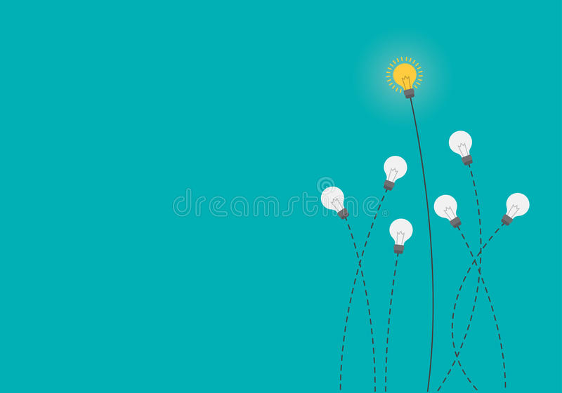 Cervello d'ardore dentro la lampadina, concetto di idea, illustrazione piana di stile royalty illustrazione gratis