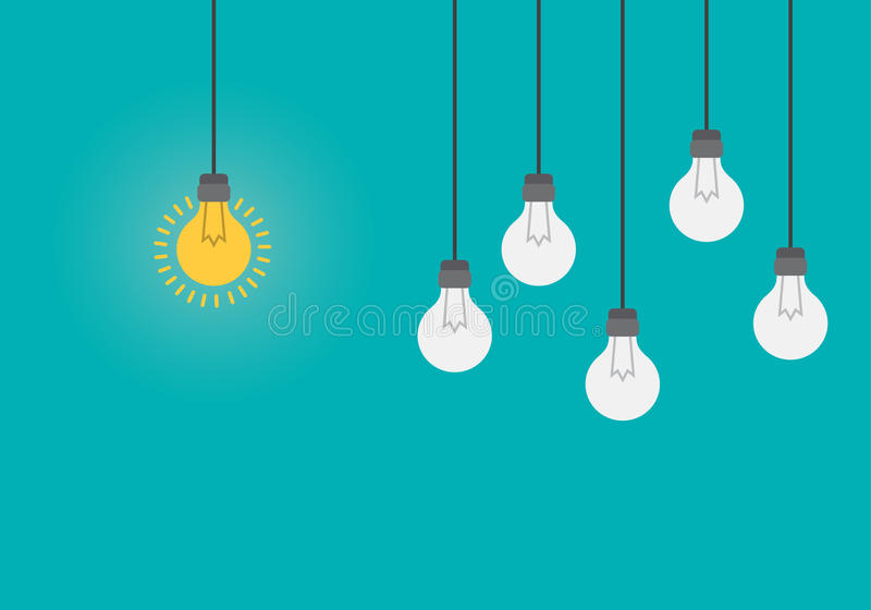 Cervello d'ardore dentro la lampadina, concetto di idea, illustrazione piana di stile illustrazione di stock