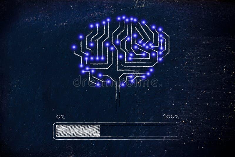 Cervello del circuito elettronico con caricamento dell'indicatore di stato fotografia stock