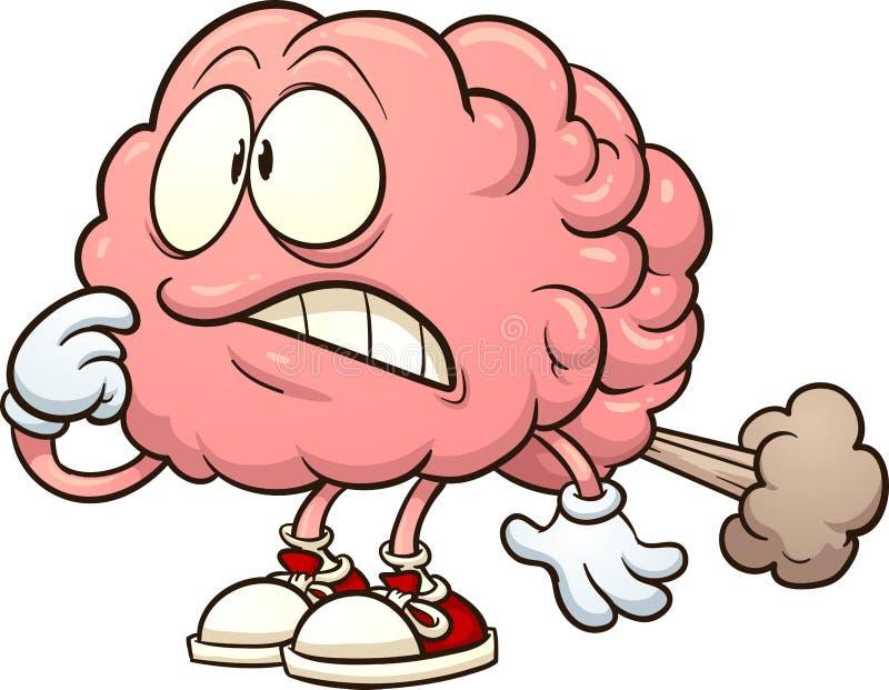 Cervello del fumetto che ha una scoreggia del cervello illustrazione vettoriale