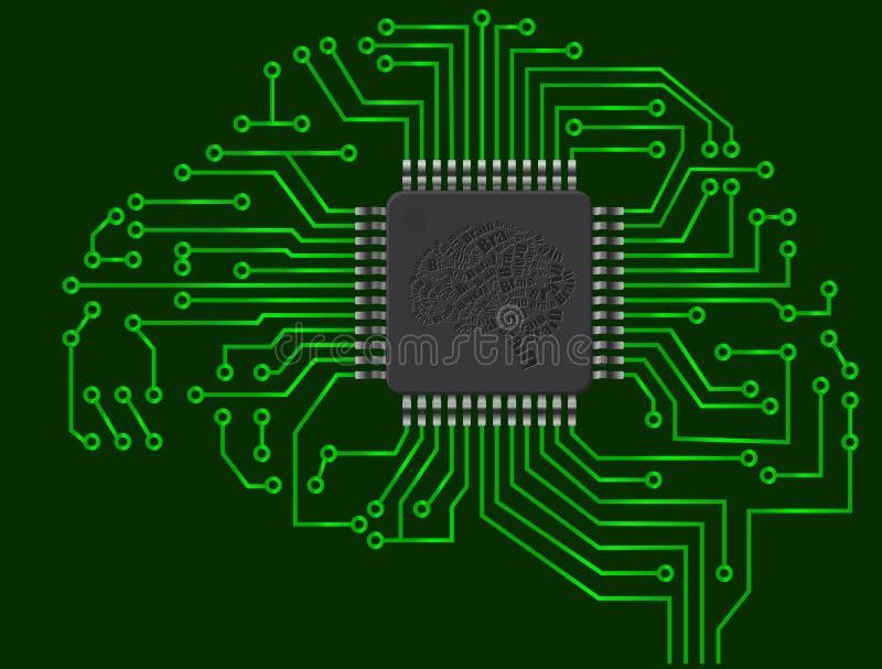 Cervello del microchip illustrazione di stock