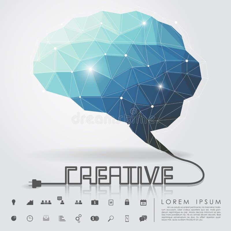 Cervello del poligono e cavo creativo con l'icona di affari illustrazione di stock