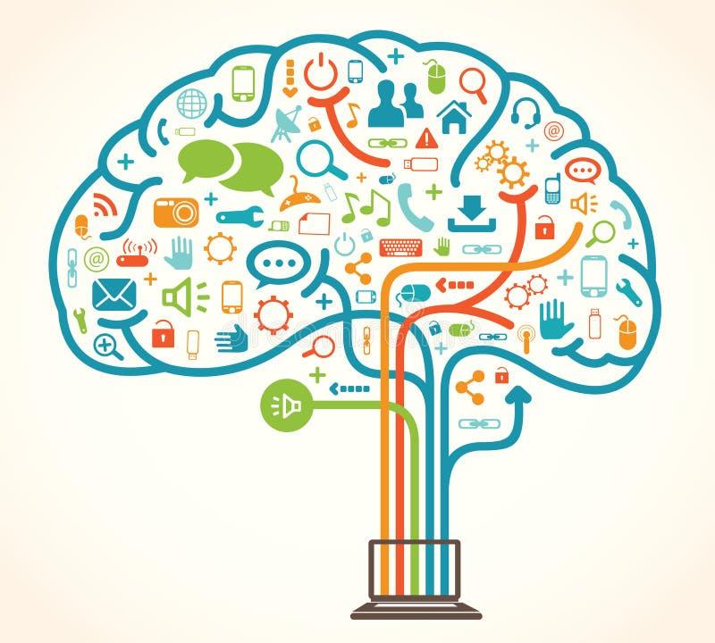 Cervello dell'albero della rete illustrazione di stock