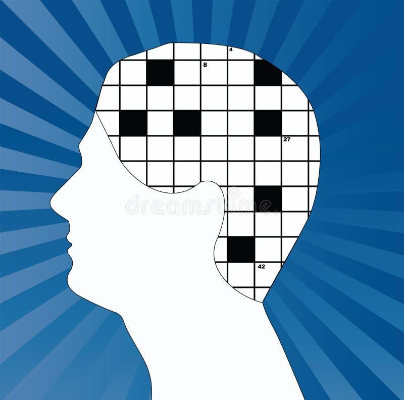 Cervello delle parole incrociate illustrazione di stock