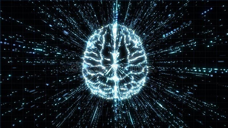 Cervello di Digital nell'esplosione della particella - vista superiore royalty illustrazione gratis