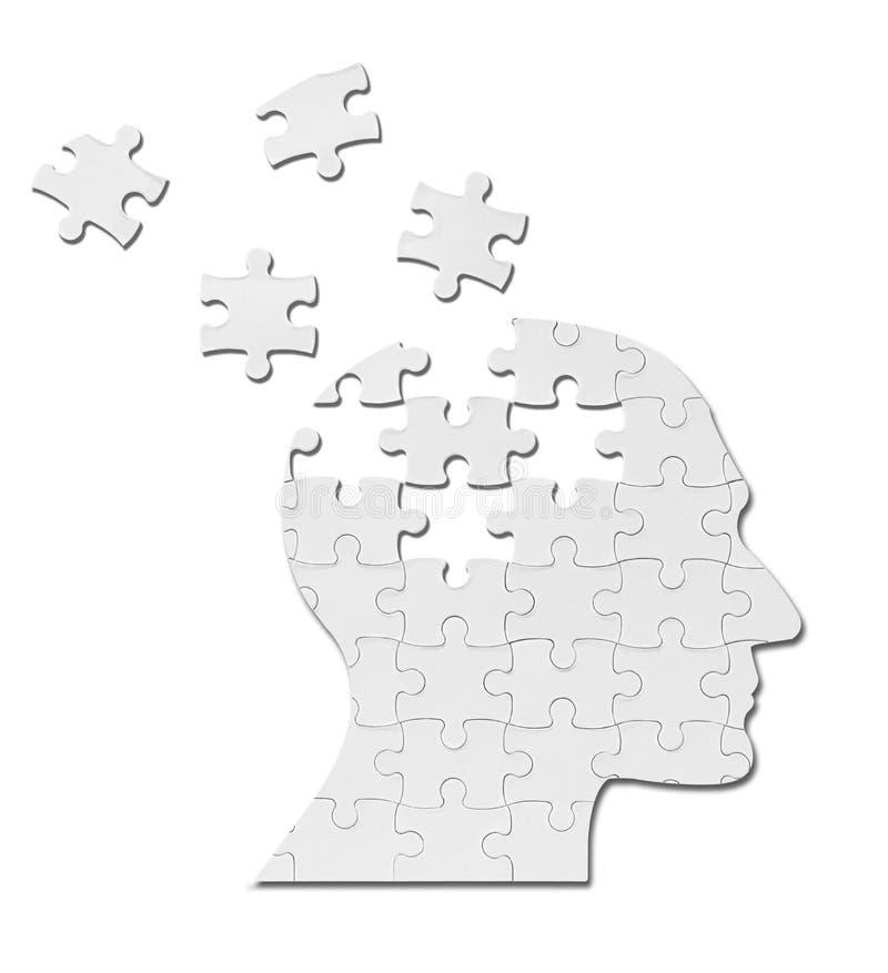 Cervello di mente della siluetta della testa della soluzione del gioco di puzzle illustrazione di stock