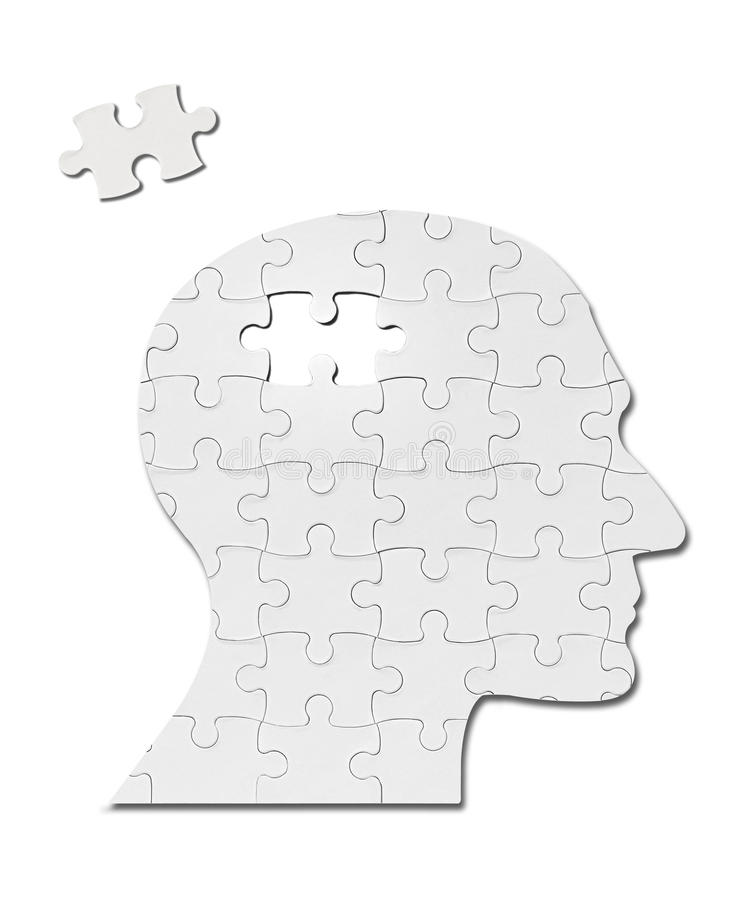 Cervello di mente della siluetta della testa della soluzione del gioco di puzzle immagine stock libera da diritti