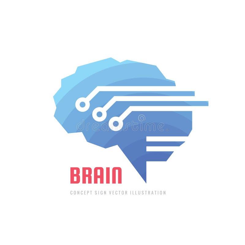 Cervello digitale umano astratto - illustrazione di concetto del modello di logo di vettore di affari Segno creativo di idea simb illustrazione vettoriale