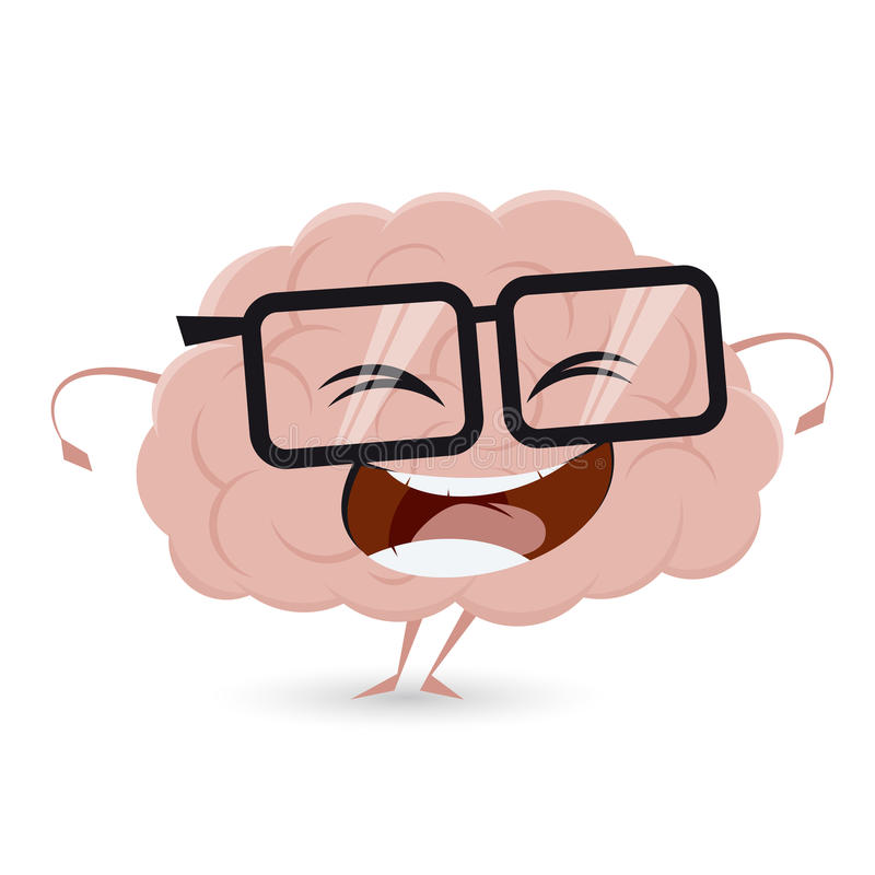 Cervello divertente con i vetri del nerd illustrazione di stock