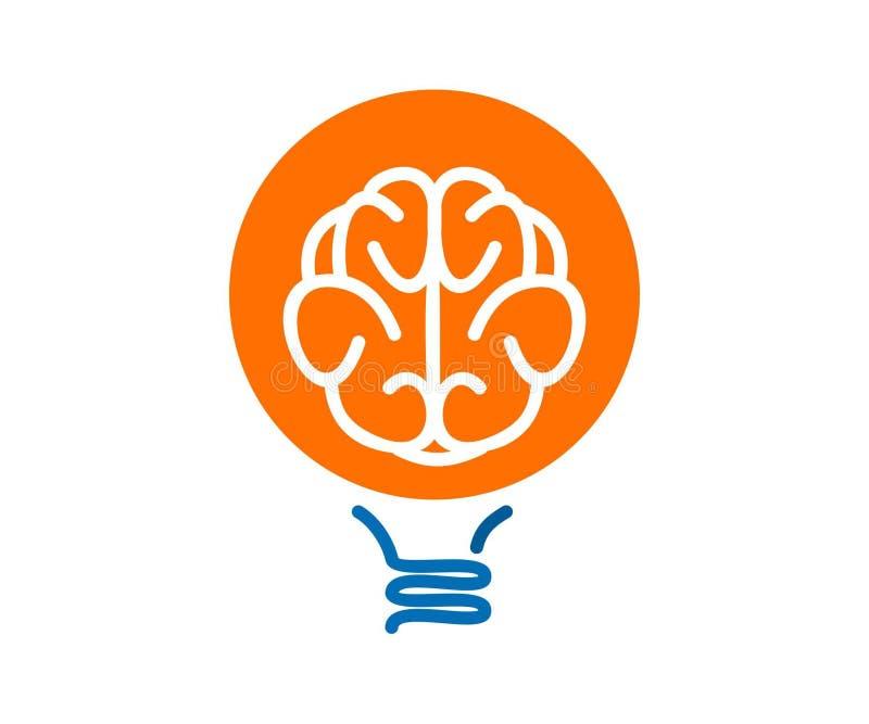 Cervello nel vettore di progettazione dell'icona di logo della lampadina fotografie stock
