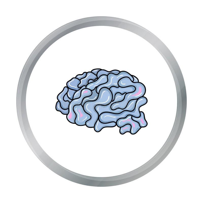 Cervello nell'icona di realtà virtuale nello stile del fumetto isolata su fondo bianco royalty illustrazione gratis