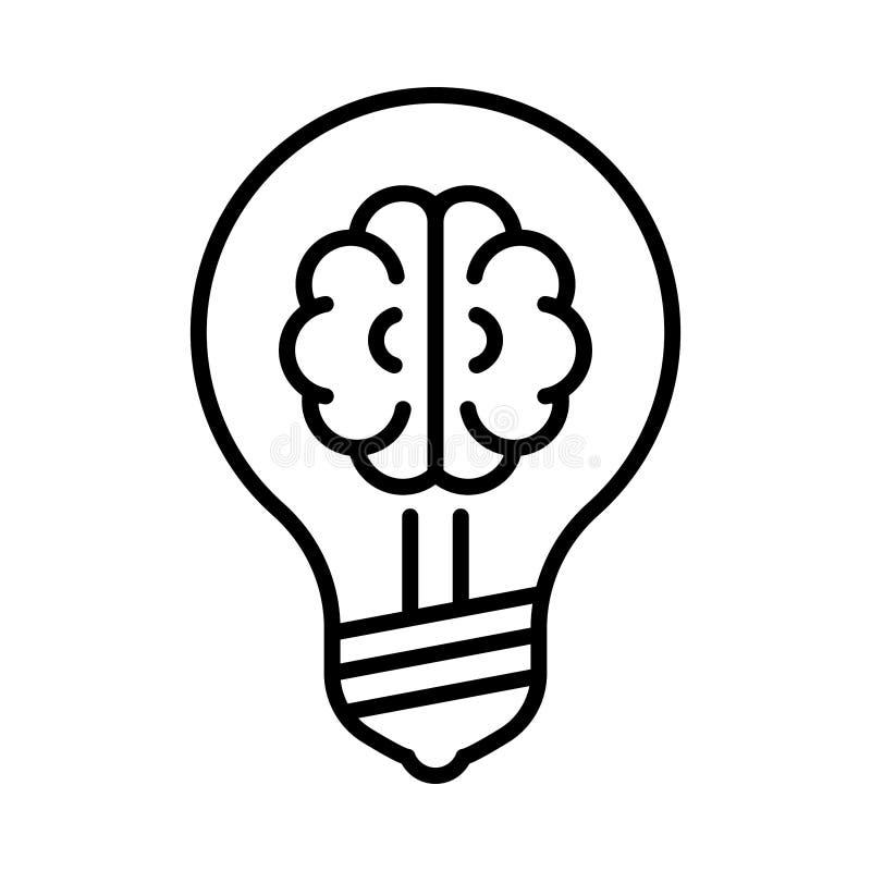 Cervello nella linea icona della lampadina royalty illustrazione gratis