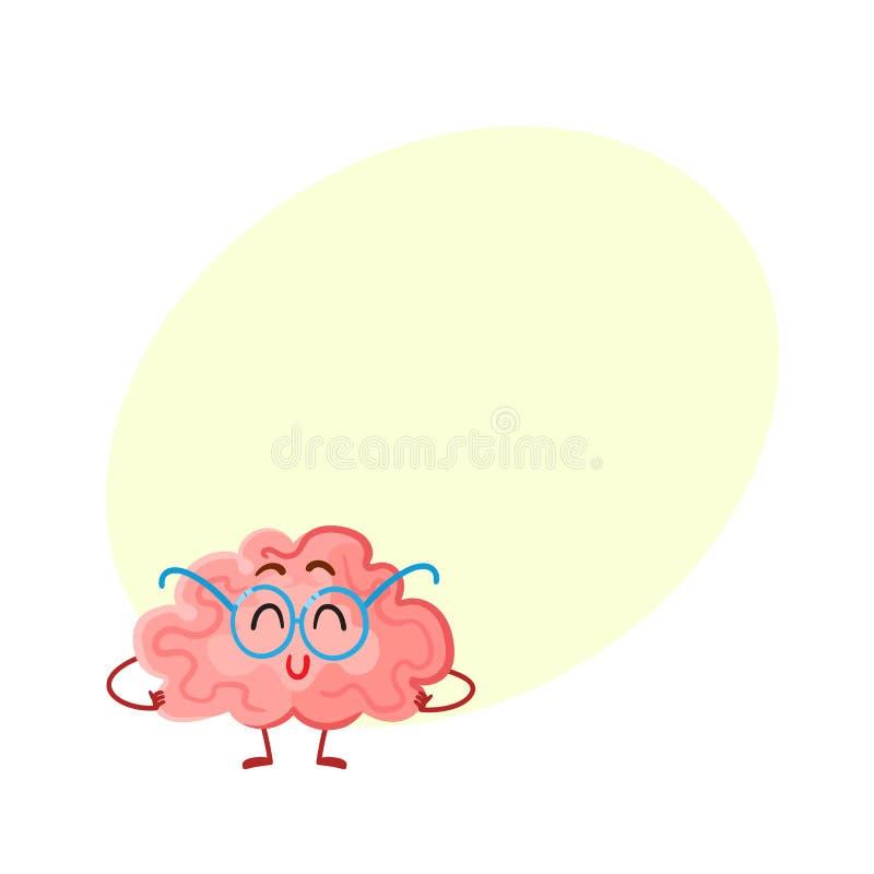 Cervello sorridente divertente in vetri rotondi, simbolo di istruzione illustrazione vettoriale