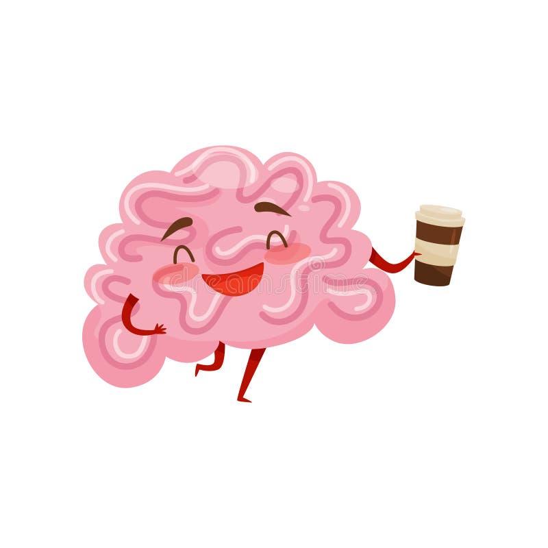 Cervello umanizzato che ride e che tiene tazza di caffè di plastica Personaggio dei cartoni animati divertente Organo umano Icona illustrazione vettoriale