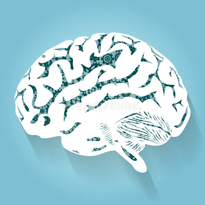 Cervello umano con gli ingranaggi Vettore per la vostra progettazione immagine stock libera da diritti