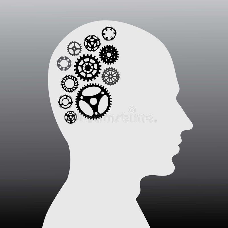Cervello umano con il disegno della raccolta della ruota tramite l'illustrazione illustrazione di stock