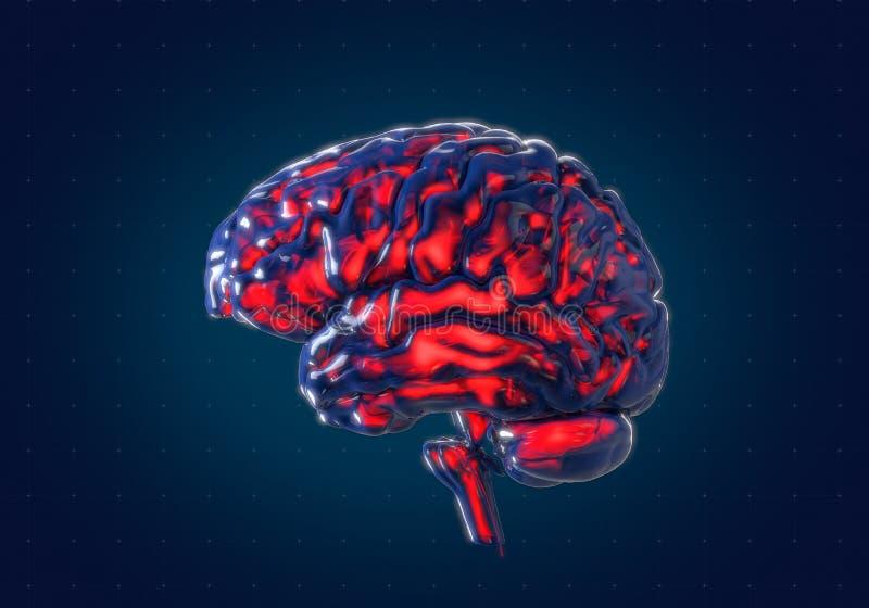 Cervello umano con il fondo futuristico dell'interfaccia del hud illustrazione vettoriale
