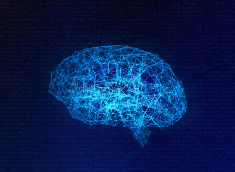 Cervello umano confuso su fondo blu, intelligenza artificiale