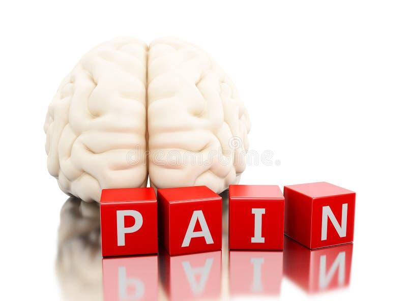 cervello umano 3d con la parola di dolore in cubi illustrazione vettoriale