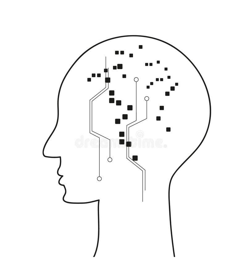 Cervello umano di Digital La tecnologia è il futuro royalty illustrazione gratis