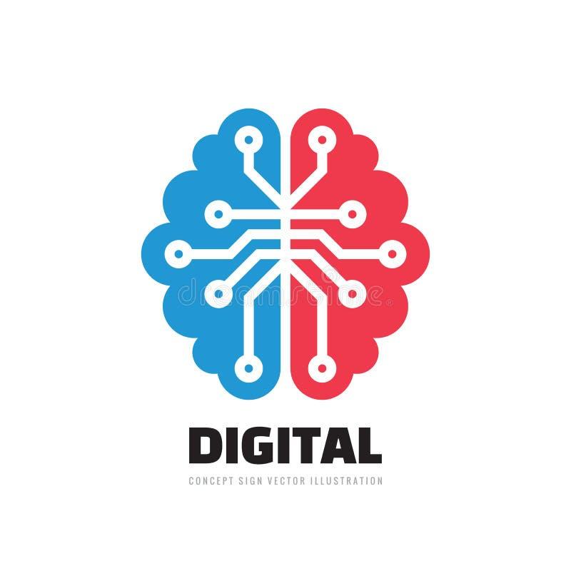 Cervello umano di Digital - vector l'illustrazione di concetto del modello di logo Segno di mente Simbolo di pensiero di istruzio royalty illustrazione gratis