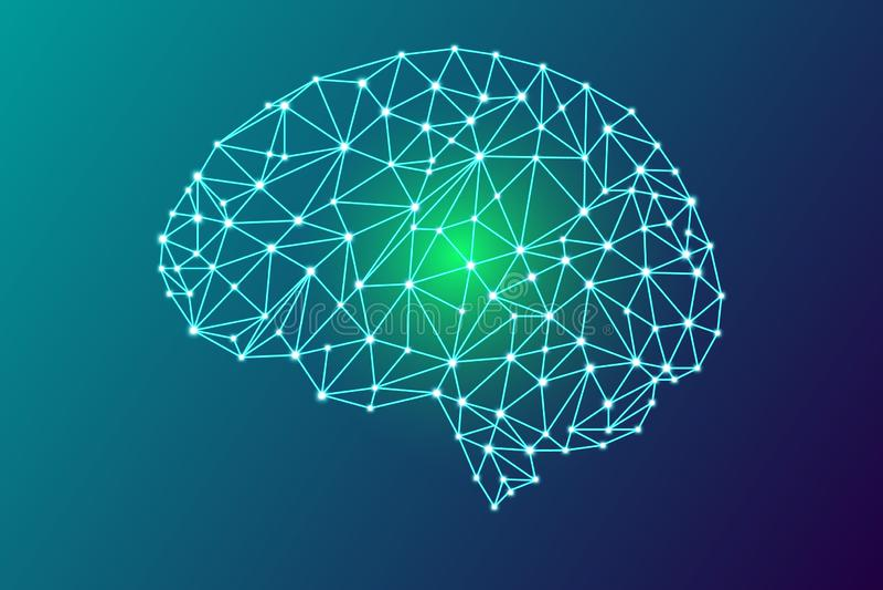 cervello umano digitale 3d illustrazione vettoriale
