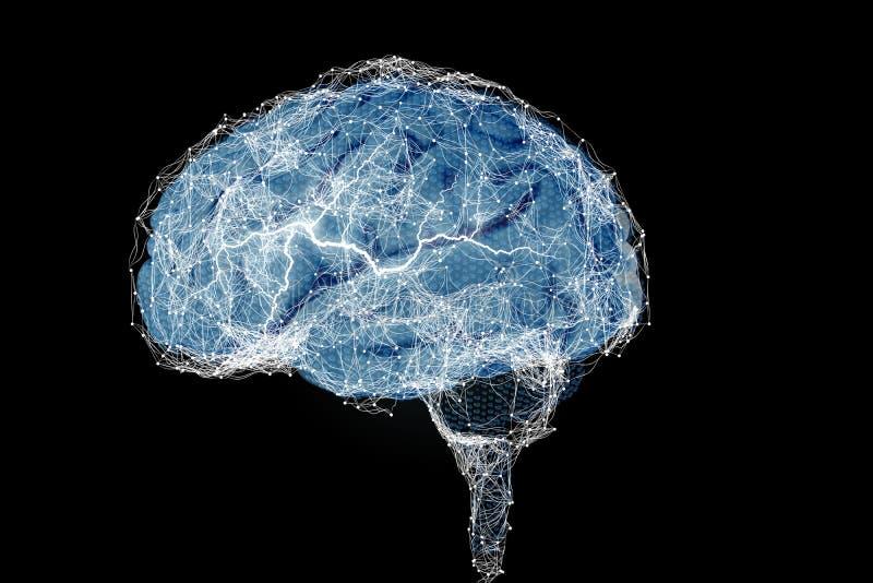 Cervello umano e le sue capacit? Visione concettuale - illustrazione 3D fotografia stock