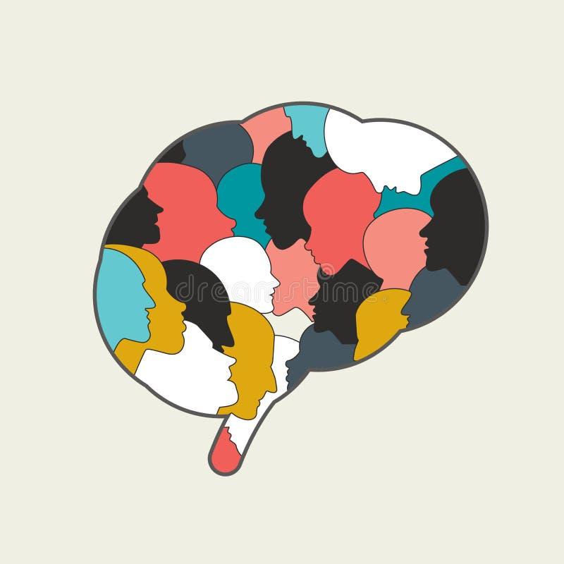 Cervello umano, mente in pieno delle teste della gente illustrazione vettoriale