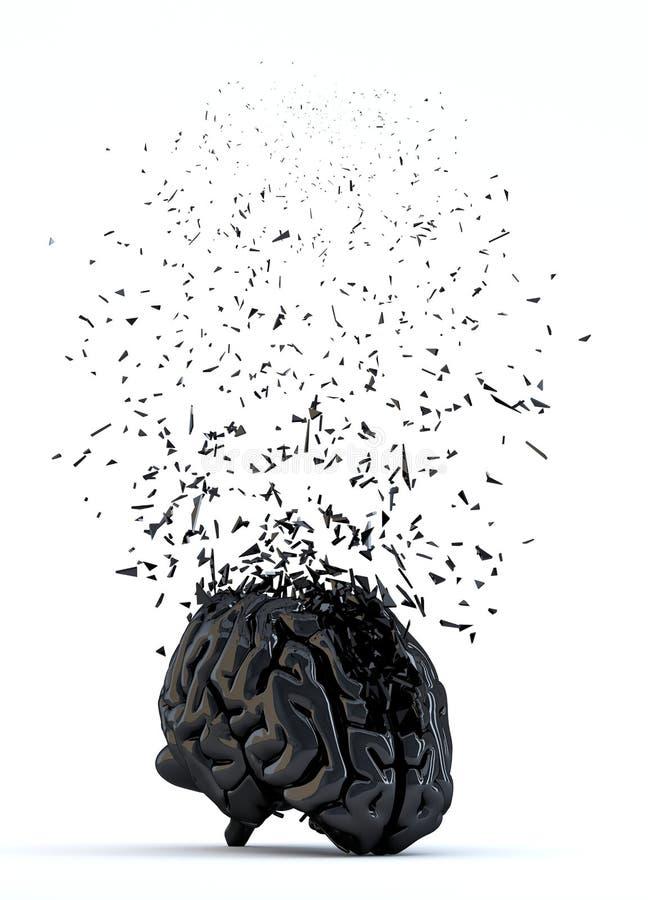 Cervello umano rotto Concetto di sforzo Isolato illustrazione di stock