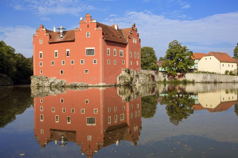 Cervena Lhota. Czech Republic. Castle on the lake stock photos