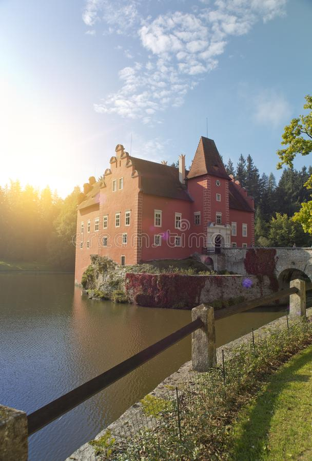 Cervena Lhota. Czech Republic. Castle on the lake royalty free stock images