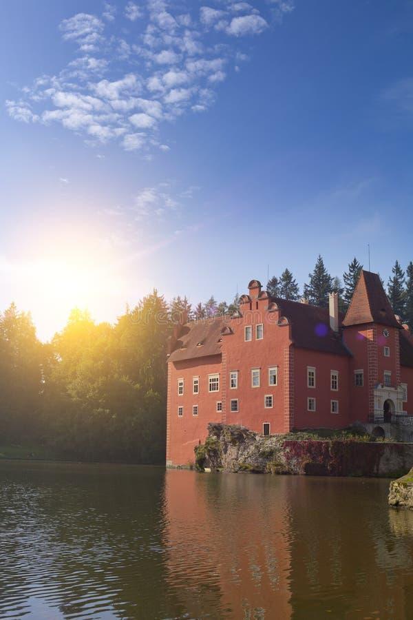 Cervena Lhota. Czech Republic. Castle on the lake.  royalty free stock photo
