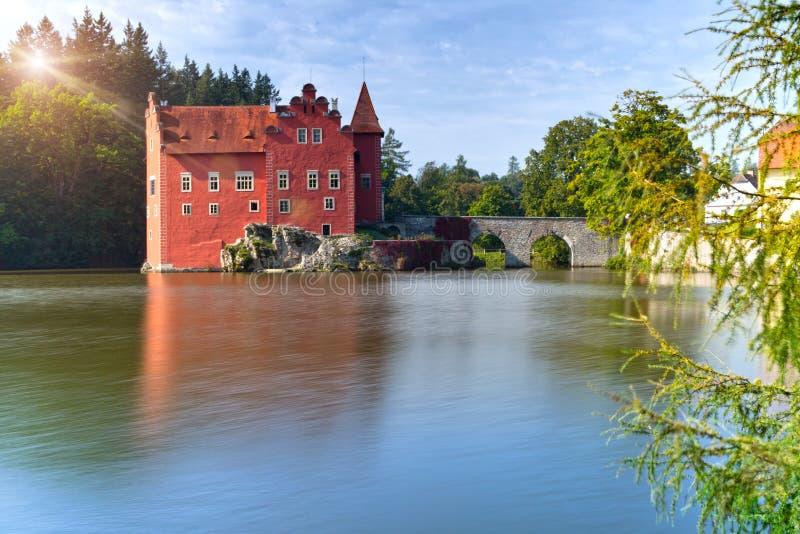 Cervena Lhota. Czech Republic. Castle on the lake.  stock image
